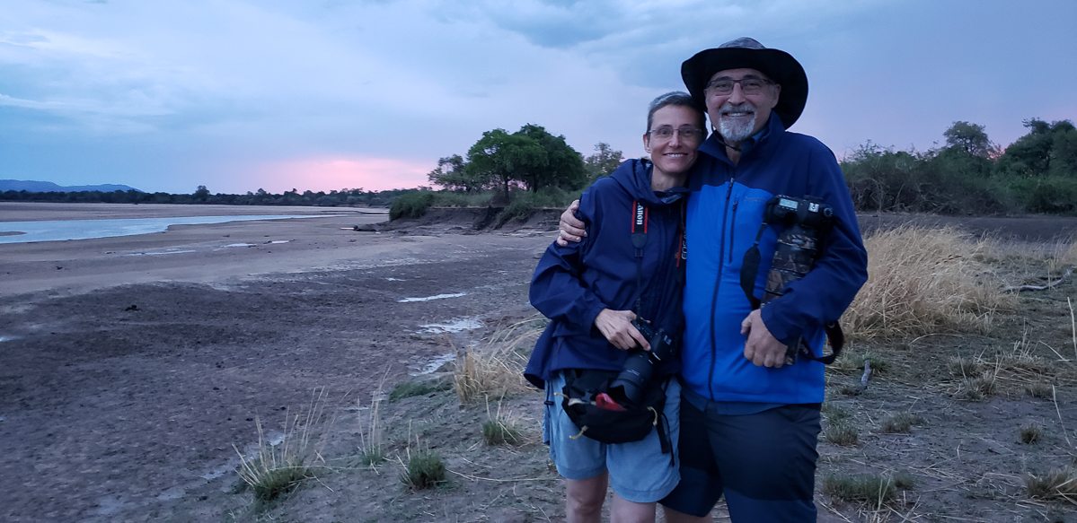 on the shore of the Luanga river in Zambia